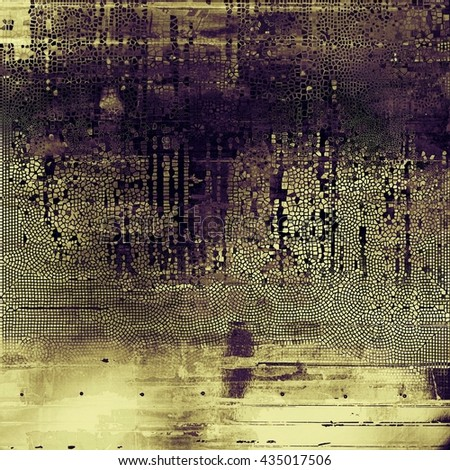 Old school frame or background with grungy textured elements and different color patterns: yellow (beige); brown; gray; purple (violet); black - stock photo