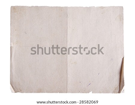old school paper isolated on white background with clipping path