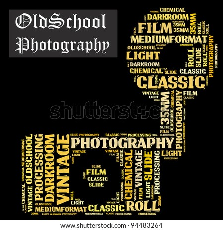 Old School photography info-text composed in the shape of a vintage camera - stock photo