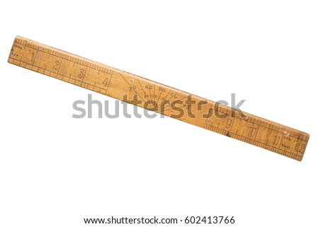 Old school ruler, rule. Wooden and worn. Foot long, showing angle degrees.Isolated on white.