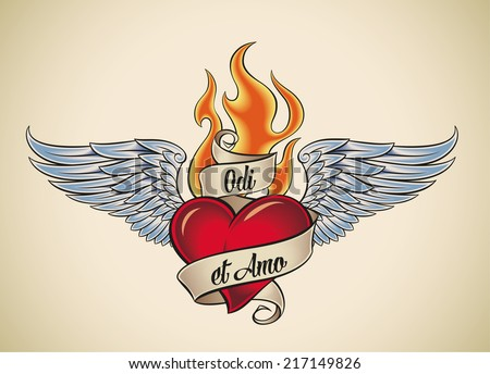 Old-school styled tattoo of a flaming heart with blue wings. The motto Odi et Amo means I hate and I love in Latin. Raster illustration. - stock photo