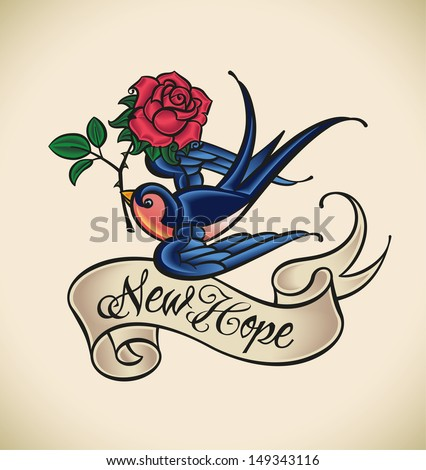 Old-school styled tattoo with a swallow, banner and rose.  Raster image. Check my portfolio for an editable version. - stock photo