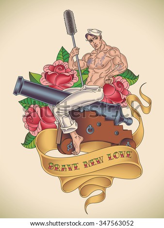 Old-school tattoo of a handsome sailor is straddling on a cannon with a ramrod in his hand on the background of red roses. Raster image. - stock photo
