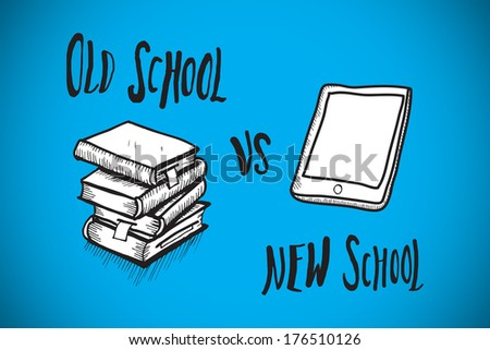 Old school vs new school doodle against blue background with vignette - stock photo