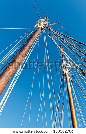 Old Schooner Mast and Ropes - stock photo