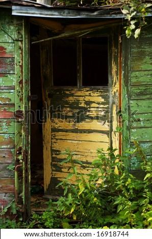Old scrappy doors - stock photo