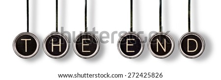 """Old, scratched chrome typewriter keys with black centers and white letters spelling out, """"THE END"""".  Isolated on white with drop shadows. - stock photo"""