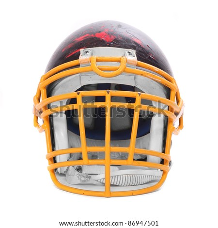 Old scratched football helmet with protective mask on a white background. - stock photo