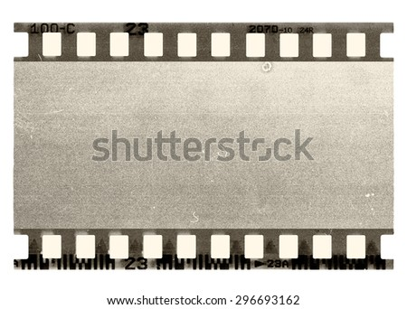 old scratched frame of 35 mm film, isolated on white - stock photo