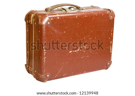 old scratched suitcase isolated on white background - stock photo