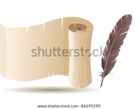 Old scroll and feather isolated on white background. Raster version. - stock photo