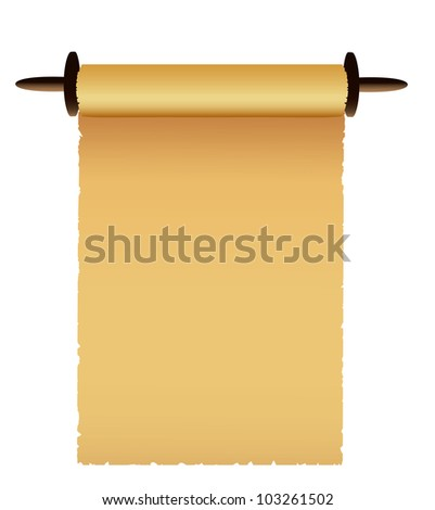 Old scroll on white background. - stock photo