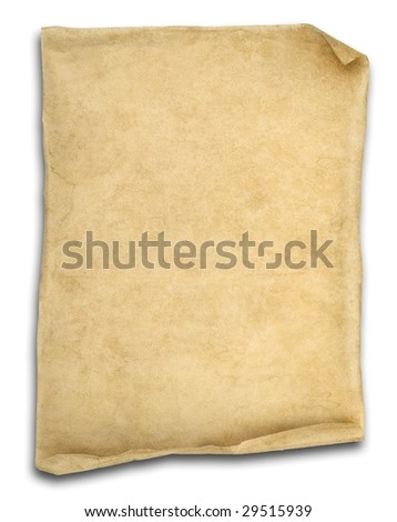 old scroll paper isolated on white with ends curled up. - stock photo
