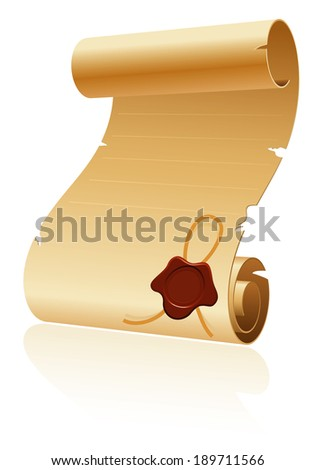 Old Scroll Paper with Sealing Wax on White Background, template for design - stock photo