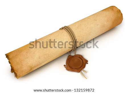 Old Scroll paper with wax seal. Conceptual illustration. Isolated on white background. 3d render - stock photo