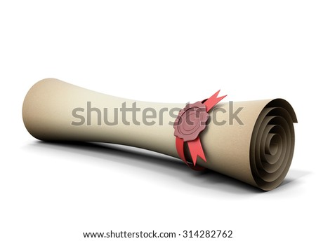 Old scroll with seal wax close-up isolated on white background. 3d illustration. - stock photo