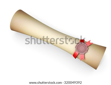 Old scroll with seal wax isolated on white background. 3d rendering. - stock photo