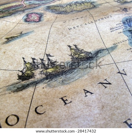 old sea map close up detail - stock photo