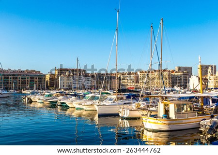 Old sea port in a summer day in Marseille, France - stock photo