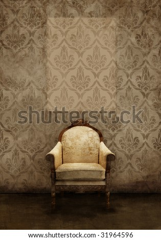 Old seat in ruined room