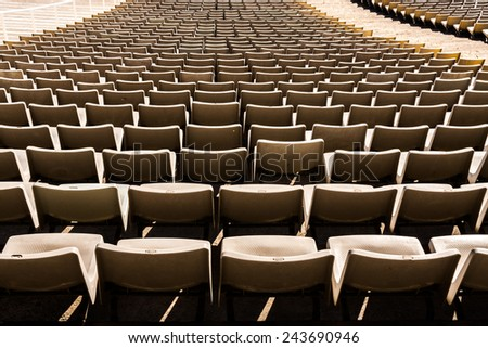 Old seats on the stadium in Barcelona, Spain - stock photo