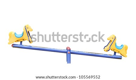 Old seesaw isolated on white background - stock photo