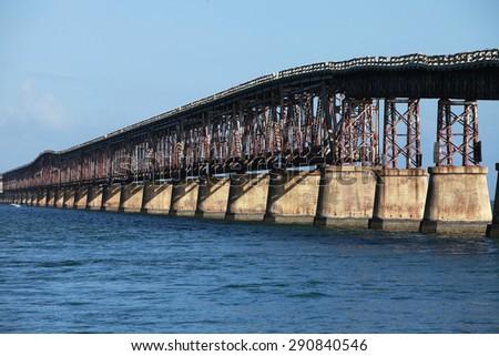 Old Seven Mile Bridge in Florida Keys, USA - stock photo