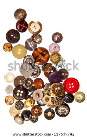 Old sewing buttons on white background - stock photo