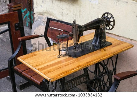 Old Sewing Machine Singer Restaurant Table Stock Photo Royalty Free Gorgeous Old Sewing Machine Singer