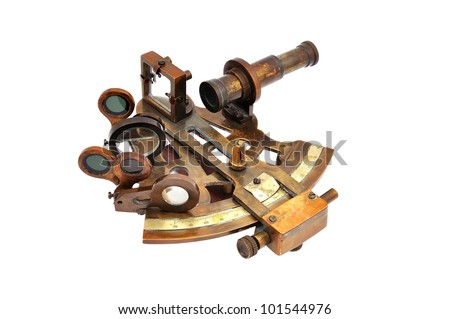 old sextant on a white background - stock photo