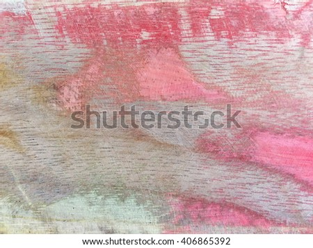 Old shabby paint on the wood background of old paint, abstract background. Old colorful paint on wood background - stock photo
