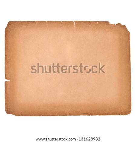 Old sheet of paper isolated on white background - stock photo