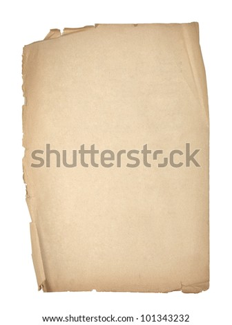 Old sheet of paper with clipping path - stock photo