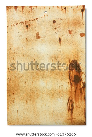 old sheet of rusty iron, dirty empty metallic banner for sign and iscription, isolated on white - stock photo