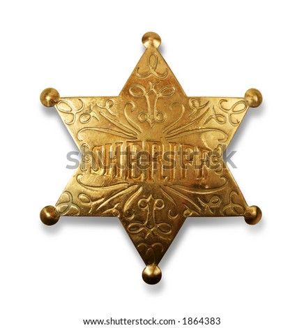 Old sheriff star from the wild west era isolated on white with a carefully drawn clippin path - stock photo
