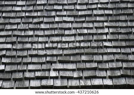 Old shingle roof background - stock photo