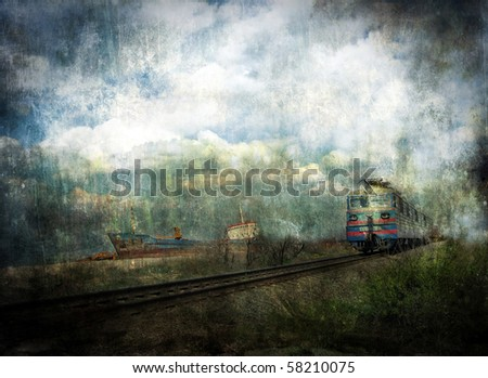 Old ship and train. Abstract grunge dirty background. - stock photo