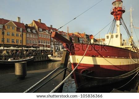 Old ship in Nyhavn. Copenhagen - Denmark - stock photo