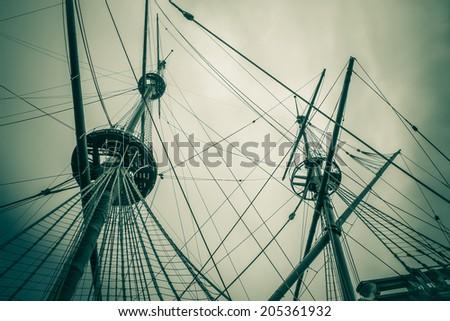 old ship mast vintage - stock photo