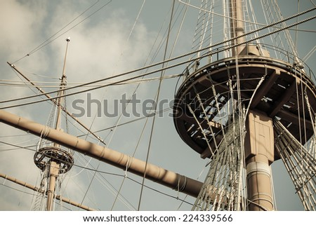 old ship nests and masts, retro style - stock photo