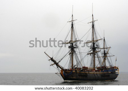 Old ship sailing Baltic sea - stock photo