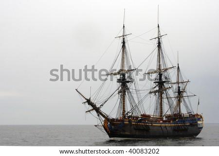 Old ship sailing Baltic sea - stock photo