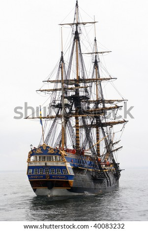 Old ship siling in the baltic sea - stock photo