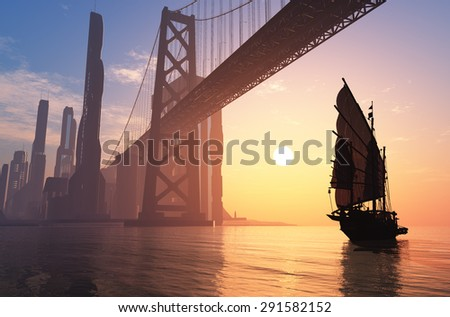 Old ship under the bridge of a modern city. - stock photo