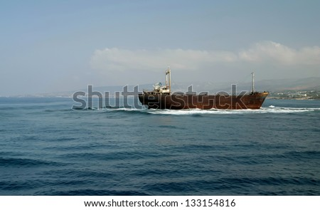Old ship wreck in Mediterranean sea around the coast of Paphos,Cyprus