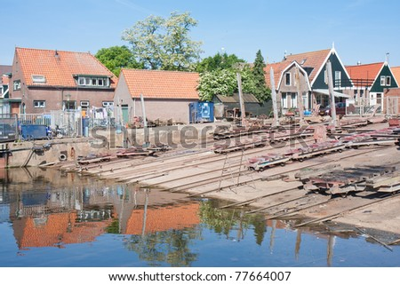 Old shipyard in Urk, a fishing village in the Netherlands - stock photo