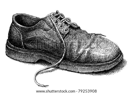 Old shoe. Hand-drawn monochrome old shoe. - stock photo