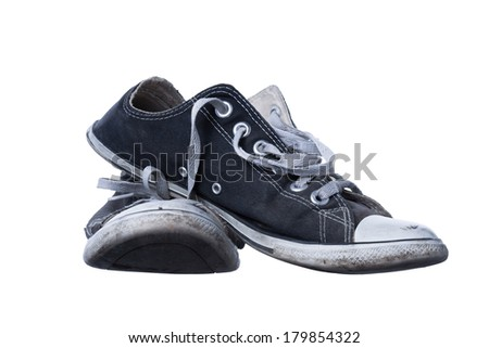Old shoes, isolated on white background - stock photo