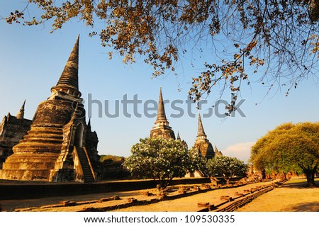 Old Siam Temple of Ayutthaya, Thailand (UNESCO word heritage)