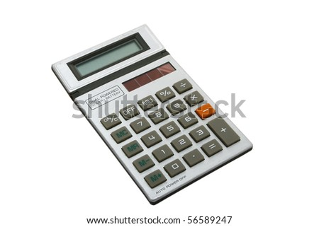 Old silver calculator isolated on white - stock photo